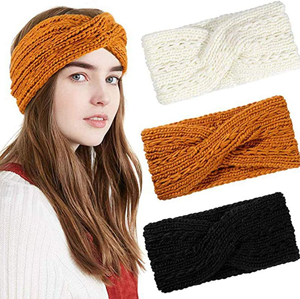 Vpang 3 Pcs Womens Winter Knitted Headbands Soft Crochet Hair Bands Turban Headband Ear Warmers Cable Bow Knotted Head Wraps for Women Girls