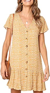 Halife Womens Short Sleeve Polka Dot V Neck Button Down Ruffles Summer Loose Mini T-Shirt Dress
