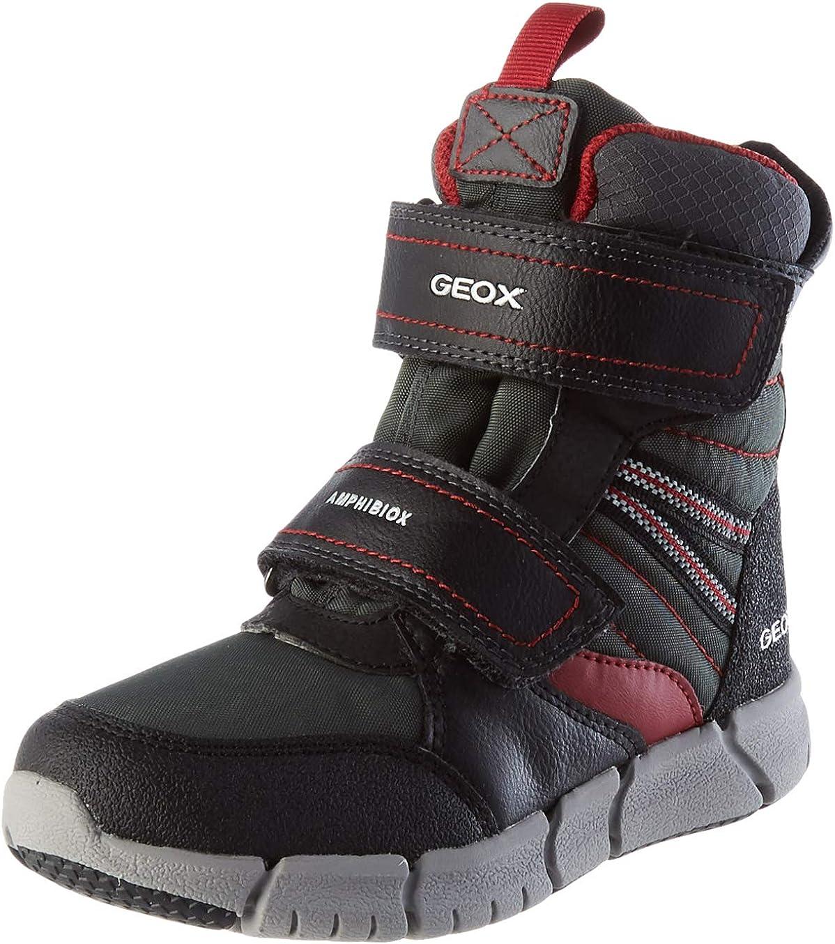 Geox Men's OFFicial store J FLEXYPER BOY B ABX outlet Dk Black Snow Red Boot 8