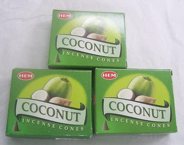 Hem Coconut Incense Cones 3 Packs Of 10 Cones 30 Cones