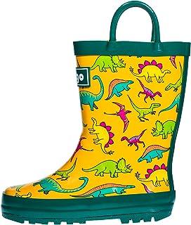 hibigo Children's Natural Rubber Rain Boots with Handles Easy for Little Kids & Toddler Boys, Pattern …