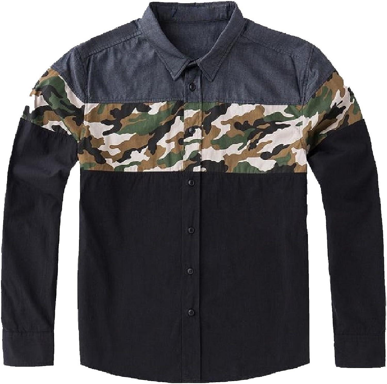 d33ee6d8f87e4c Zago Men's Basic Cotton Splice Plus Size Relaxed-Fit Western Western  Western Shirt 6c78d5