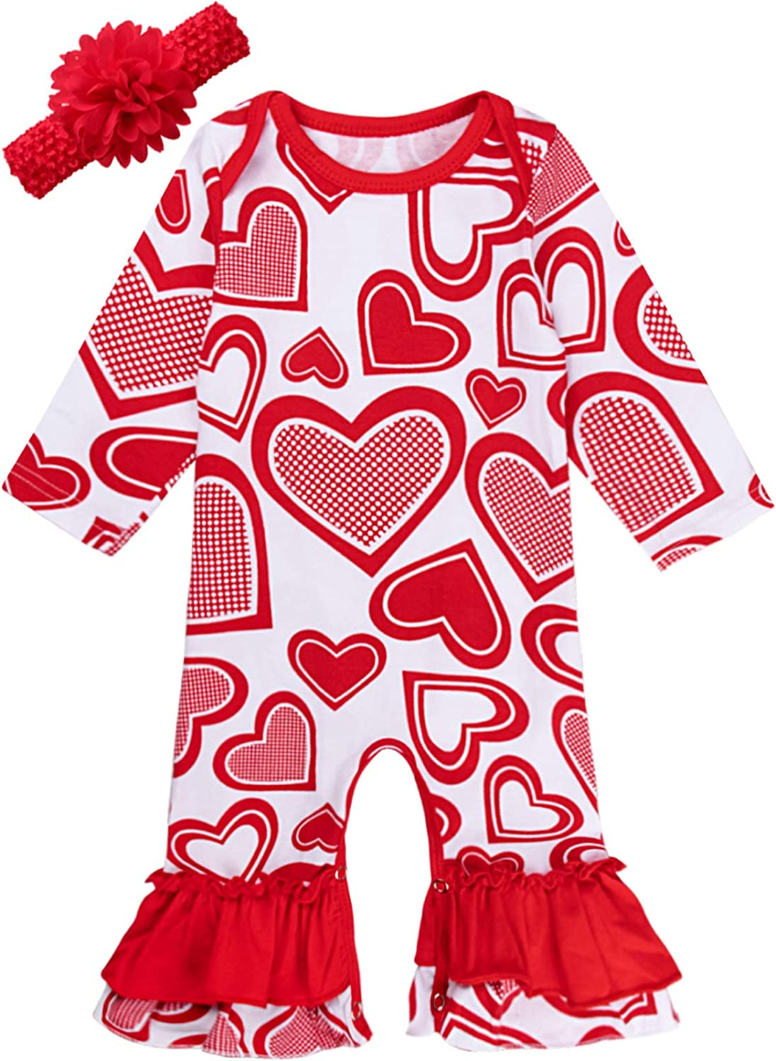 COSLAND Baby Girls' Max 84% OFF Ruffle Romper Outfits w Valentine Love Heart Super beauty product restock quality top