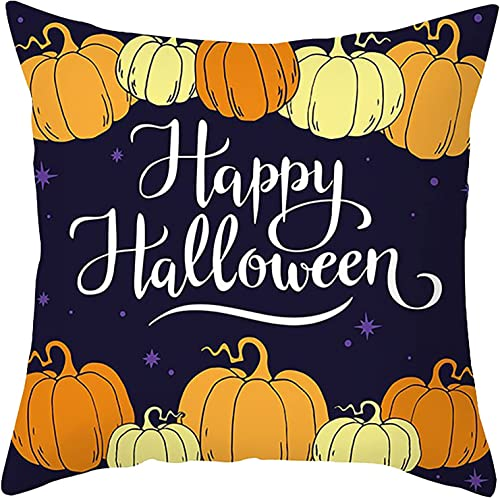 new arrival Halloween Throw Pillow Covers Happy Halloween Text Pillowcase 2021 Linen Cushion new arrival Case for Sofa Home Decor,18x18 Inch (Style E) online sale