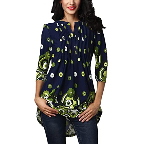 c34070560f6 FIYOTE Womens Casual 3/4 Sleeve Floral Print Loose Tunic Long Blouse and  Tops