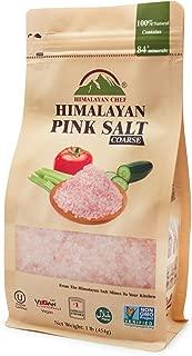 Himalayan Chef Pink Salt Coarse Stand Up Bag w/Window,100% Pure Natural Himalayan Pink Salt - 1 LBS