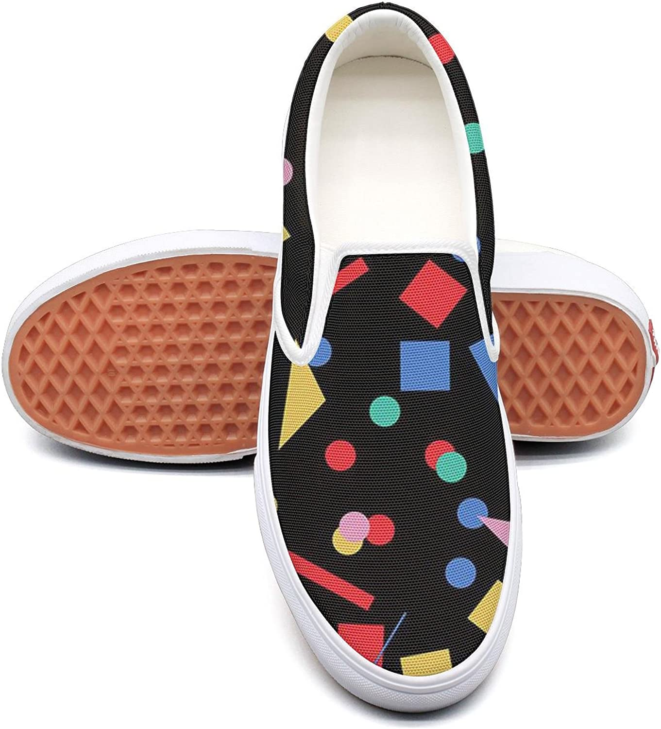 Women's Fashion Slip-ONS sneakersCool Geometrical Pattern Lace-up Lightweight Canvas Sneakers shoes