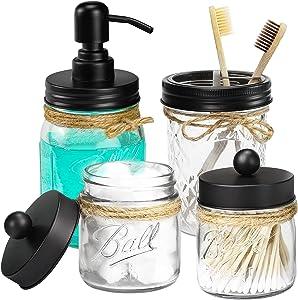 Mason Jar Bathroom Accessories Set, Mason Jar Soap Dispenser & Toothbrush Holder & 2 Apothecary Jars - Bathroom Home Decor, Vintage Farmhouse Decor, Countertop Vanity Organize