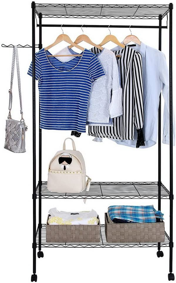 Attention brand Goujxcy 3-Tier Shelf Garment Storage Cloth Rollong on Max 45% OFF Wheel Rack
