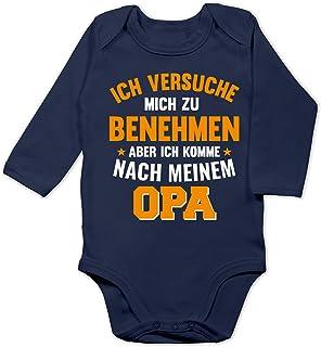 Shirtracer Sprüche Baby - Ich versuche Mich zu benehmen Aber ich komme nach Meinem Opa orange - Baby Body Langarm