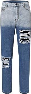 Jeans strappati a vita alta da donna Leghetti sciolti Gambe dritte Retro All-Match Ripped Hole Hole Jeans