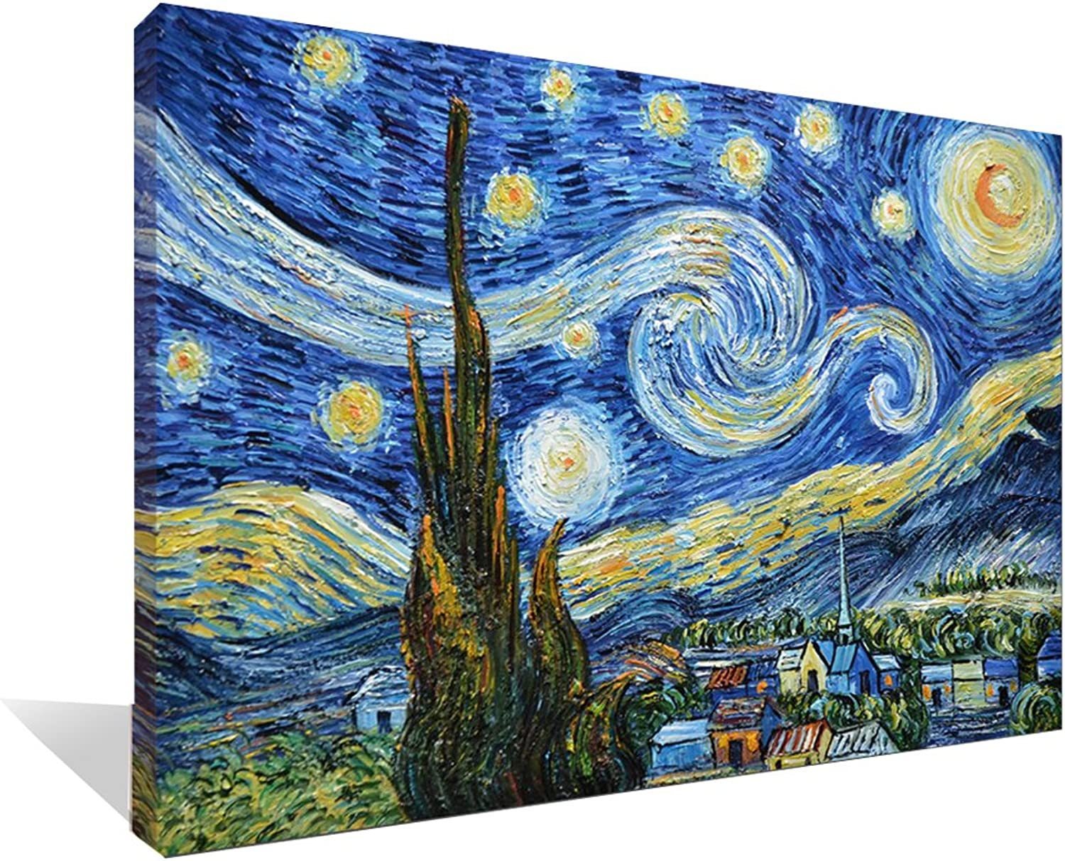 Asdam Art 100% Hand Painted 3D bluee Starry Night by Vincent Van Gogh Work Abstract Oil Paintings Framed Modern Home Wall Art for Living Room Bedroom Dinning Room (24x36inch)