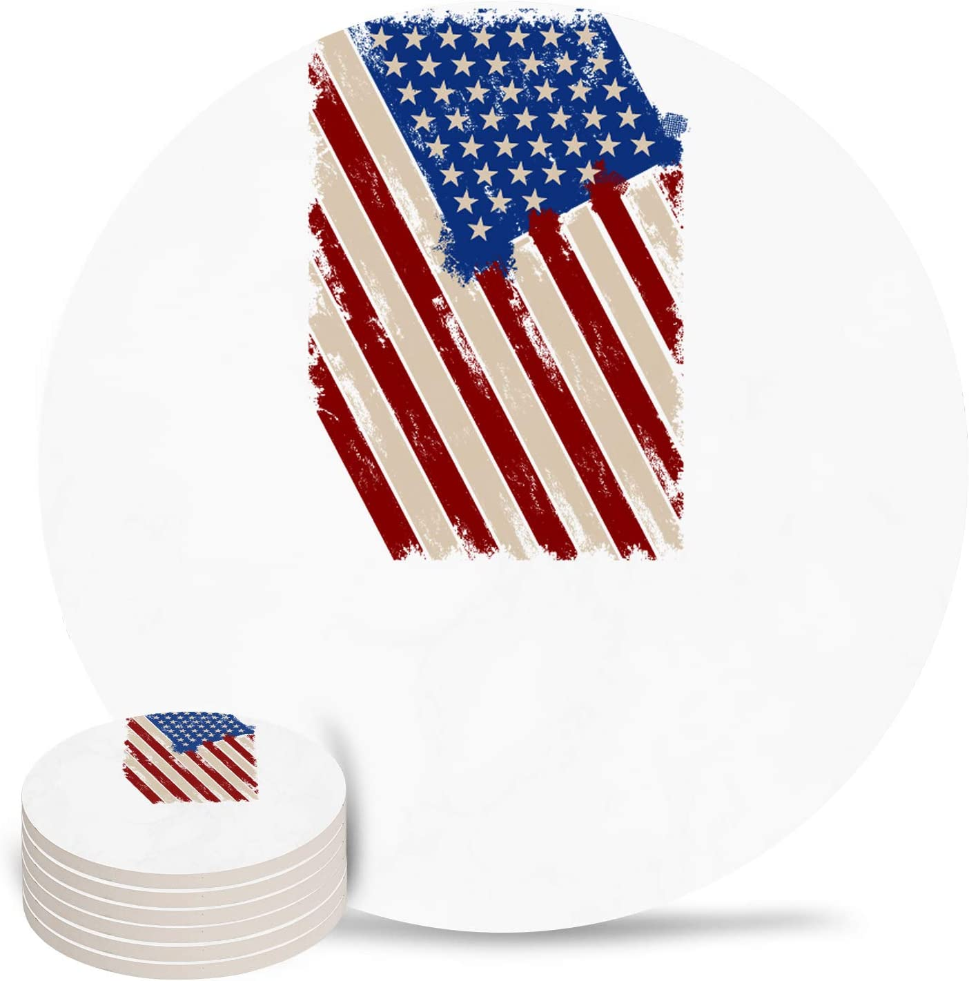 American Flag Coasters for Drinks NEW before selling ☆ Coaster Ceramic Max 90% OFF Absorbent 6-P