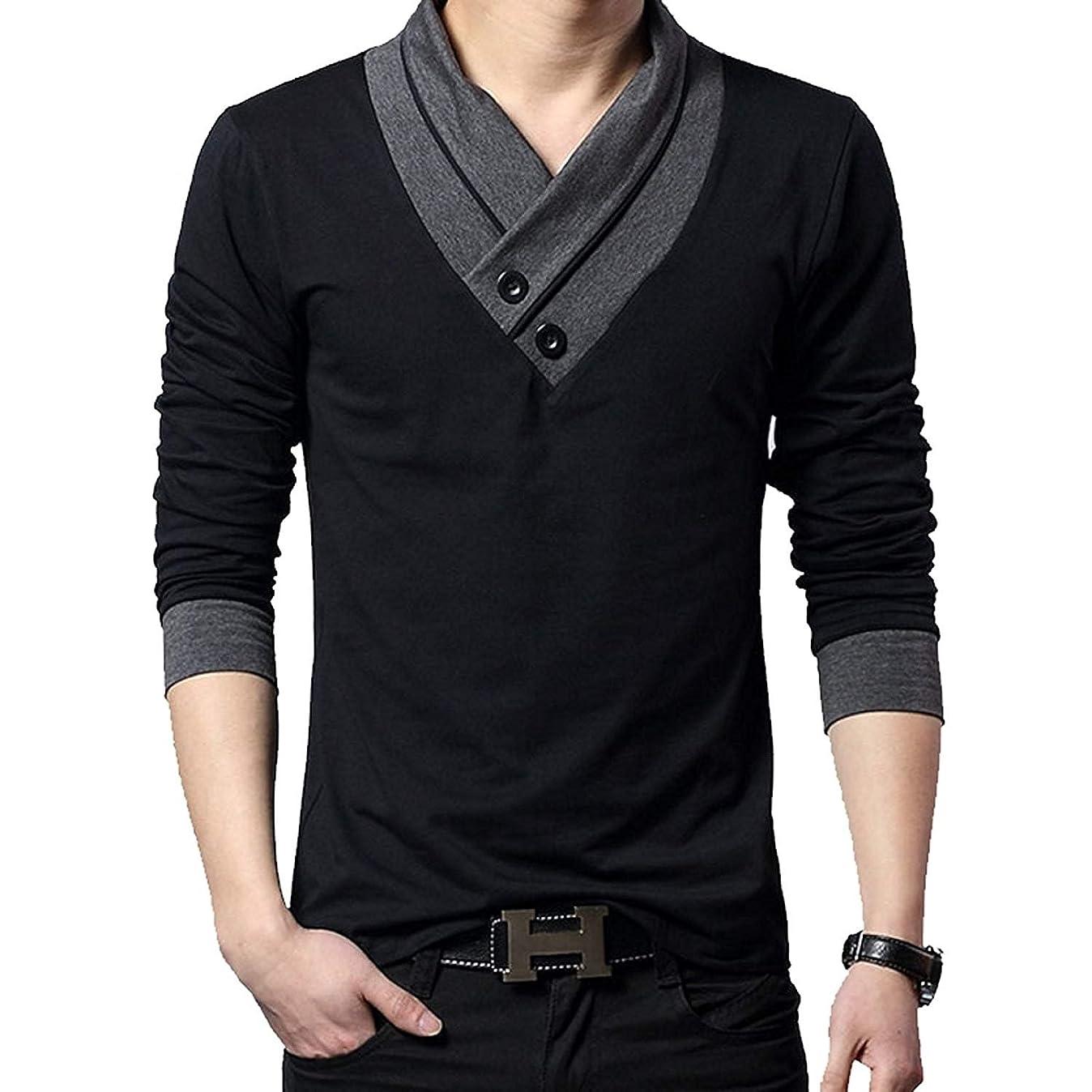 抜け目がない命令お酢(メイク トゥ ビー) Make 2 Be スリム Vネック 半袖 Tシャツ スカーフ風 カジュアル シャツ MF01