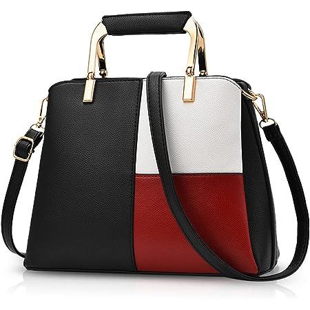 NICOLE&DORIS Frauen Farbe Einfache Handtaschen Umhängetasche Crossbody Messenger Bag Tote Schultasche für Lady PU Leder Schwarz