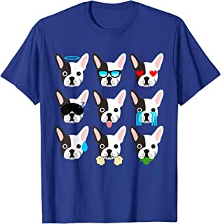 Emoji Boston Terrier Dog Face T-Shirt Funny
