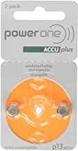 Power One ACCU Plus p13 Hearing Aid Rechargeable Battery, 2 Batteries Each Pack