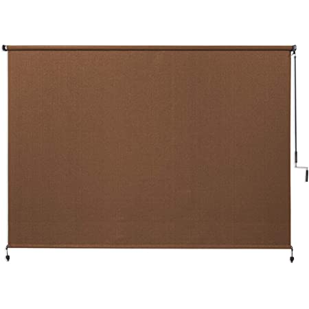 Coolaroo Exterior Roller Shade, Cordless Roller Shade with 90% UV Protection, No Valance, (8' W X 6' L), Mocha
