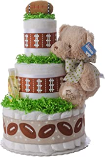 Diaper Cake - Lil' Sports (Football) Theme Handmade by Lil Baby Cakes - Baby Boy Gift - Makes a Great Baby Shower Centerpiece