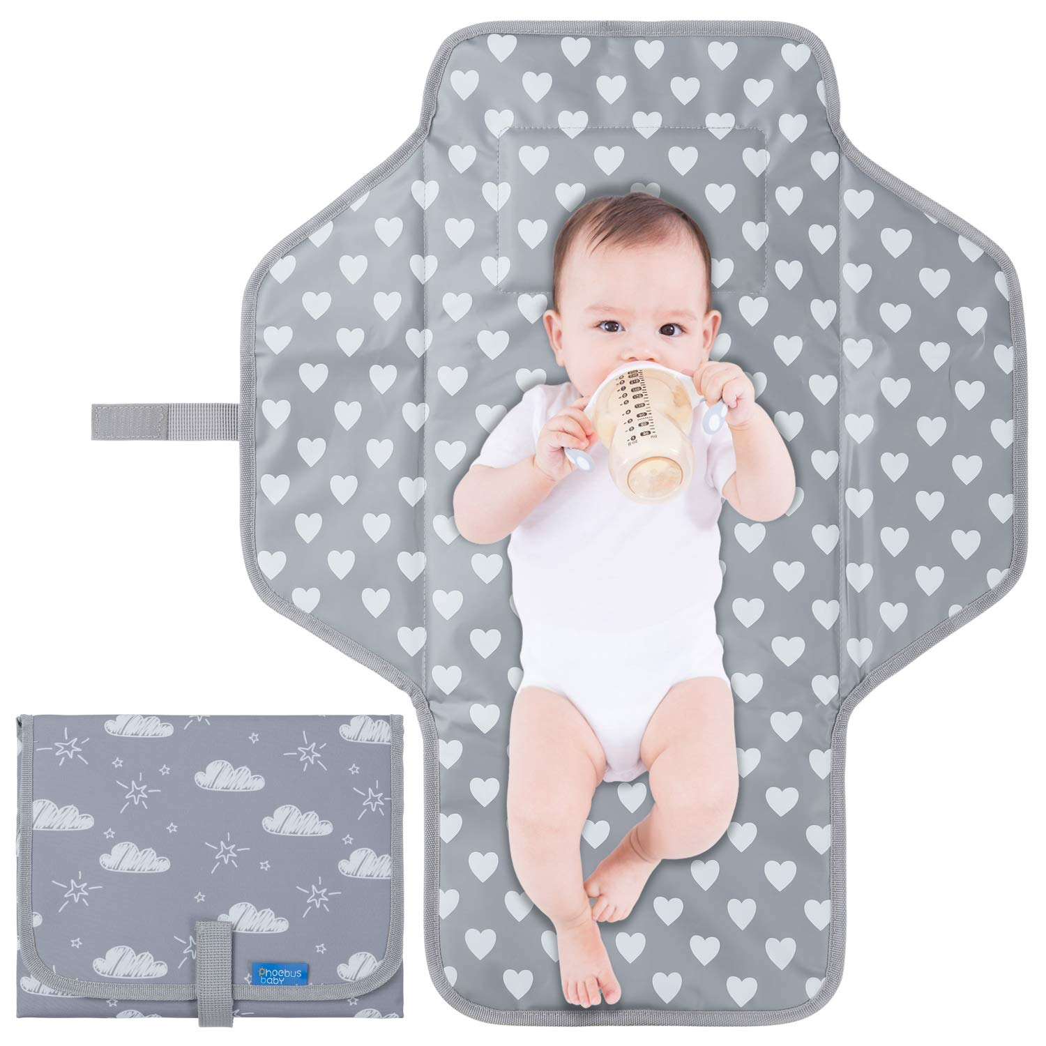 Baby Portable Changing Pad Travel - Waterproof Compact Diaper Changing Mat with Built-in Pillow - Lightweight & Foldable Changing Station for Newborn by Phoebus Baby