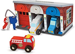 Melissa & Doug Keys & Cars Wooden Rescue Vehicle & Garage Toy (Emergency Vehicles, Color-Coded Keys, Great Gift for Girls and Boys - Best for 3, 4, 5 Year Olds and Up)