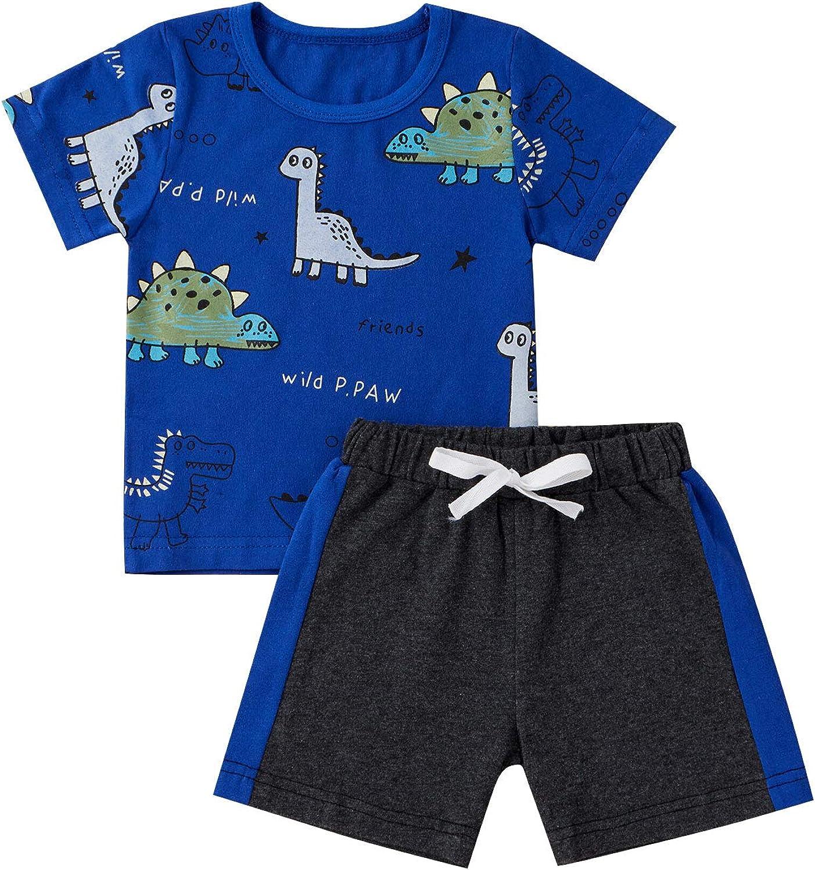 Toddler Baby Boy Clothes Set Short Sleeve T-Shirt Tops Dinosaur Outfits 2Pcs Shorts Set for Kids Summer
