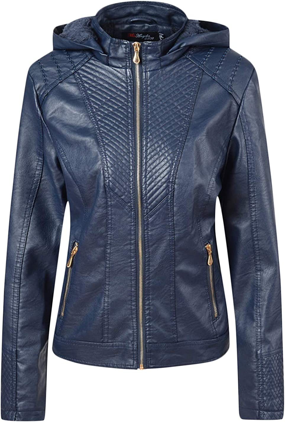 Uaneo Women's Full Zip Up Sherpa Lined Short PU Jacket Coat with Detachable Hood (Dark Blue, X-Small)