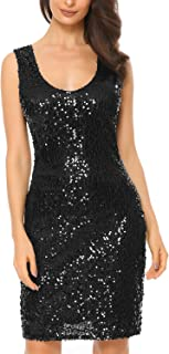 Women Sexy Bodycon Dress V Neck Long Sleeve Sequin Cocktail Party Club Evening Mini Dress