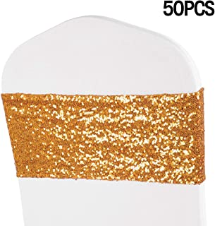 ANMINY Pack of 50 Sequin Chair Sashes Decorative All Around Sequins Stretch Sash Band for Chair Cover Romantic Wedding Party Festival Home Decorations Ceremony Banquet Hotel Event Reception, Gold