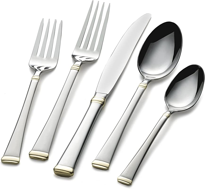 Mikasa 5184018 Harmony Gold Accent 65 Piece Stainless Steel Flatware Set With Serveware Service For 12