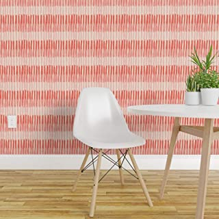 Spoonflower Peel and Stick Removable Wallpaper, Coral Stripes Painterly Blush and Modern Feminine Girls Room Color of The Year Print, Self-Adhesive Wallpaper 24in x 36in Roll