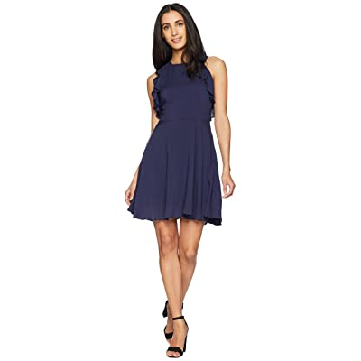 BB Dakota Samantha Ruffle Fit and Flare Dress (Vintage Blue) Women