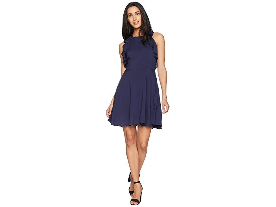 BB Dakota Samantha Ruffle Fit and Flare Dress (Vintage Blue) Women