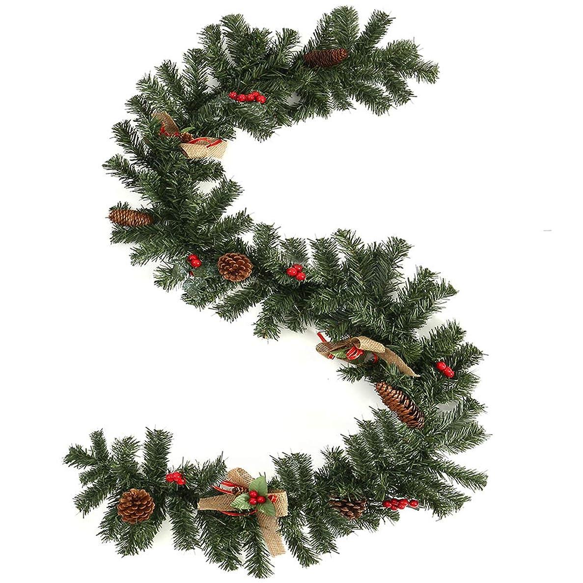 膨らませるマカダム収束Wellbeingjp_JPクリスマス ガーランド クリスマスリース クリスマス飾り 1.8m クリスマスツリー 飾り パーティー装飾藤 クリスマス オーナメント クリスマスツリー装飾  松の葉モール 部屋 玄関 飾り 装飾品 華やか デコレーション オーナメント クリスマス用品