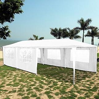 Hengda® Partyzelt Pavillon Hochwertige 100% Wasserdicht, Vollverzinkte Stahlkonstruktion mit Verbolzung, Reißverschluss Seitenteilen (3x9 Weiß)