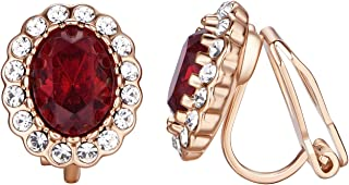 Yoursfs Bur gundy Clip on Earrings for Women 18k Rose GP Crystal Invisible Clip Earrings non Pierced Earring