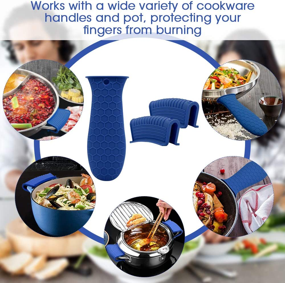 AHIW Silicone Hot Handle Holder Cover Set Assist Pan Handle Sleeve Pot Holders Cast Iron Skillets Handles Grip Covers Non-Slip Heat Resistant for Griddles Metal Frying Pans Aluminum Cookware L, Blue