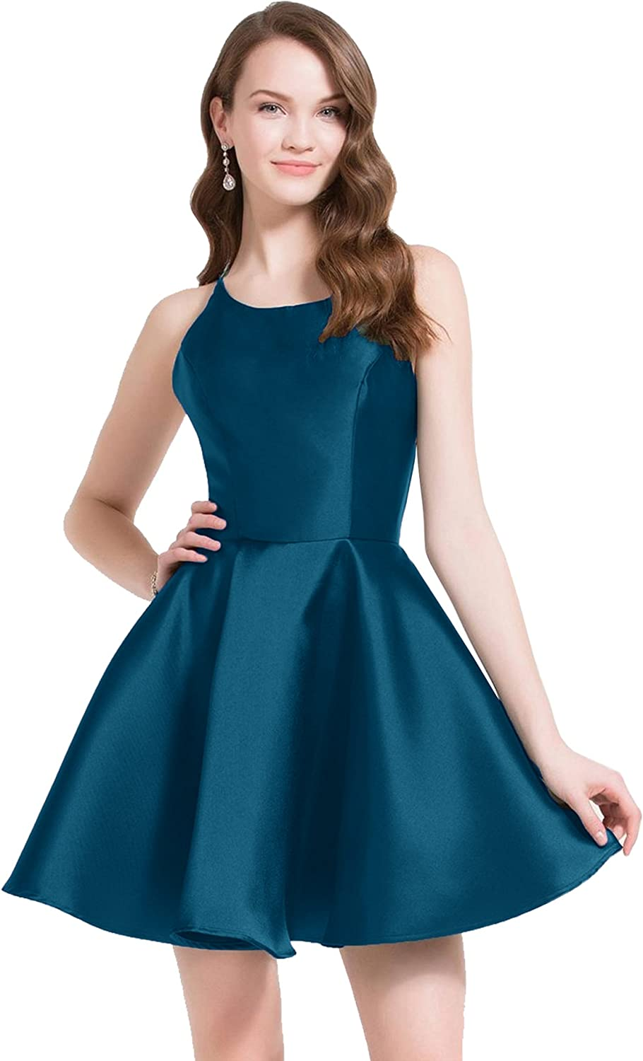Beauty Bridal Womens Satin Homecoming Dresses Short Prom with Pockets 2018 Evening