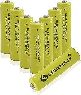 GEILIENERGY Solar Light Batteries AA Ni-CD 600mAh Rechargeable Batteries,AA Rechargeable Batteries for Solar Lights Solar Lamp (Pack of 8)