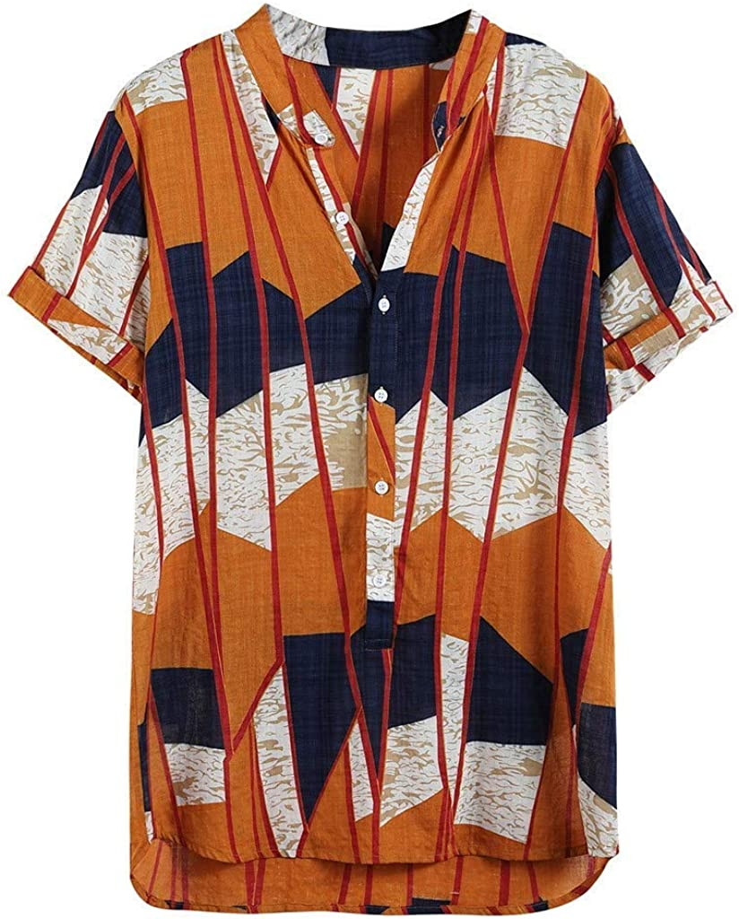 IHGTZS Shirts for Men, Fahion Mens Printed Lump Short Sleeve Round Hem Loose Shirts Blouse Top