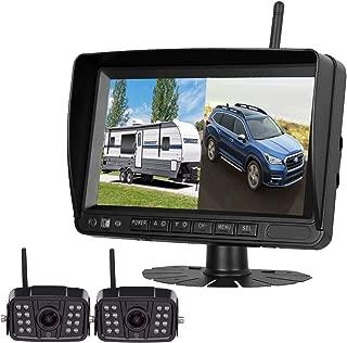 Digital Wireless Dual Backup Camera HD 1080P 2019 Vision 7''DVR Monitor Kit for RVs,Trucks,5th Wheels Support Split/Quard View Screen High-Speed Observation System IP69K Waterproof Driving/Reverse