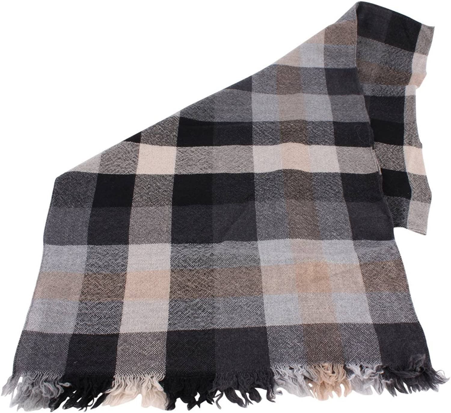 Bassin and Brown Womens Sycamore Check Wool Scarf  Black Grey Beige