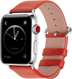Apple Watch Band,Fullmosa Genuine Leather Watch Strap with Stainless Steel Clasp for Apple Series 4/3/2/1,Sport and Edition Versions 2015 2016 2017,42mm Orange