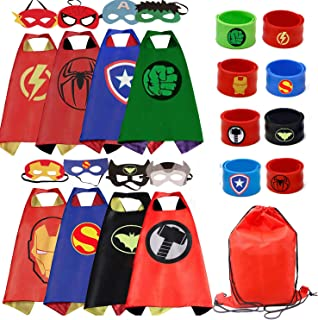 RioRand Kids Dress Up 8PCS Superhero Capes with Masks and Slap Bracelets for Boys Costumes Birthday Party Gifts