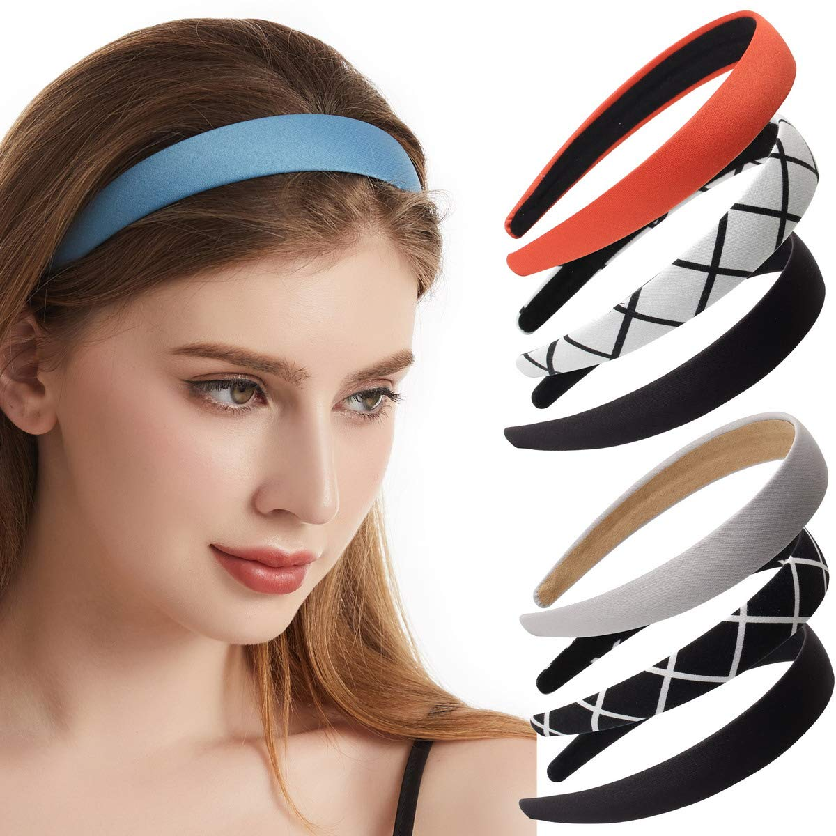 6 Pack Manufacturer direct delivery Fabric half Plain Headbands for or Girl Ribbon Women Non-slip