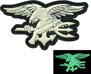 LEGEEON GITD Glow Dark US Navy Seals Insignia DEVGRU SOCOM Morale PVC 3D Hook&Loop Patch