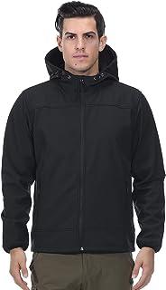 MIER Men's Water Resistant Tactical Jacket Lightweight Soft Shell Jacket Coat with Hood, Fleece Lined, Front Zip