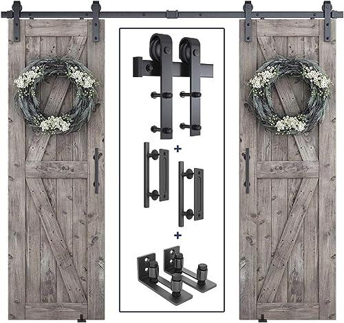 """popular 8ft Heavy Duty Double Door Sliding Barn Door Hardware Kit + 2X Barn Door Bottom Adjustable Floor Guide wholesale Roller + 2X 12"""" Pull and Flush Barn Door sale Handle Set online"""