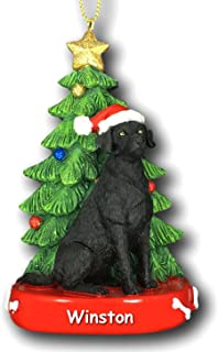 Kurt Adler Personalized Black Lab Labrador Retriever Dog with Santa Hat and Glittered Christmas Tree Hanging Christmas Ornament with Custom Name - 4.25 Inches