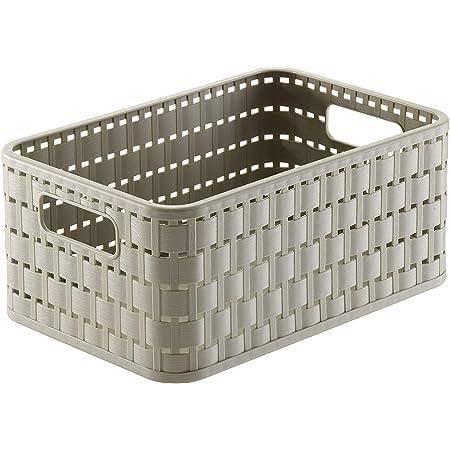 Rotho Country Boîte de rangement 4l en rotin, Plastique (PP) sans BPA, cappuccino, A6+/4l (23.7 x 15.8 x 10.8 cm)